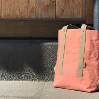 粉橘水洗石臘帆布包